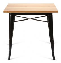 Tolix Style Square Metal Dining Table Matt Black With Solid Oak Top 1/2 Price Deal